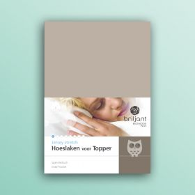 Jersey hoeslaken topdekmatras sale taupe